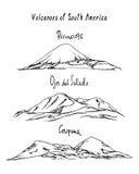 Hand drawn volcanoes Stock Photography
