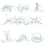 Hand drawn volumetric blue line sea waves vector set. Ocean storm wave isolated vector illustration. Hand drawn volumetric blue line sea waves vector set. Ocean vector illustration