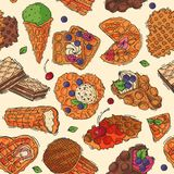 Hand drawn waffle cakes cookies pastry biscuit delicious snack cream dessert crispy bakery food vector seamless pattern. Background Stock Photography