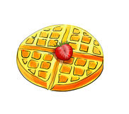 Hand drawn waffle isolated on white background. Stock Image