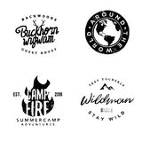 Hand drawn wanderlust logotypes, wilderness badges. In vintage style, retro insignias on outdoor theme Royalty Free Stock Photo