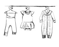 Hand drawn wardrobe sketch. Baby clothes. Doodles stock photography