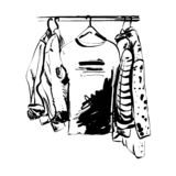 Hand drawn wardrobe sketch. T-shirt and other clothes on the hunger. Monochrome royalty free stock image