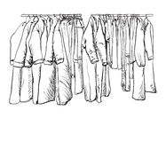 Hand drawn wardrobe sketch. Coat and other winter clothes. Royalty Free Stock Images