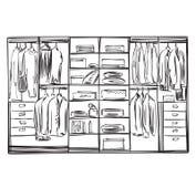 Hand drawn wardrobe sketch Stock Photos