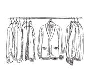 Hand drawn wardrobe sketch. Mans dresscode suit. Royalty Free Stock Image