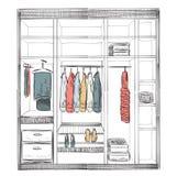 Hand drawn wardrobe sketch Stock Image