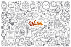 Hand drawn watch shop set with lettering. Hand drawn watch shop doodle set background with orange lettering in vector Royalty Free Stock Photos