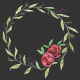 Hand Drawn Water Color Botanical Wreath Stock Images