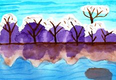 Snow Covered Trees by a Sea - Water Color Painting. This hand drawn water color painting shows snow covered trees by a sea. You can see the reflections in the Royalty Free Stock Photos