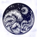 Hand Drawn Water Waves In The Night Stormy Sea With Moon Line Art Drawing. Stock Images
