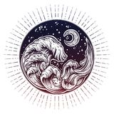 Hand Drawn Water Waves In The Night Stormy Sea With Moon Line Art Drawing. Stock Photography