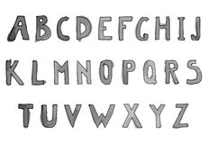 Hand drawn watercolor alphabet. Alphabet letters Royalty Free Stock Image