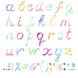 Hand drawn watercolor alphabet. Handwritten multicolor font isolated on white background. Contains lowercase letters, numbers, punctuation signs and most Royalty Free Stock Images