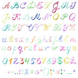 Hand drawn watercolor alphabet. Handwritten multicolor font isolated on white background. Contains uppercase and lowercase letters, numbers, punctuation signs Stock Photos