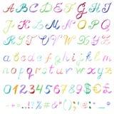 Hand drawn watercolor alphabet Stock Photos