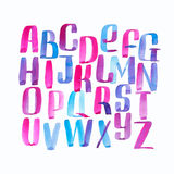 Hand drawn watercolor alphabet made with brush-shades and smears Stock Images