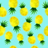Watercolor ananas seamless pattern on blue. Hand drawn watercolor ananas seamless pattern on blue background stock illustration