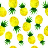Watercolor ananas seamless pattern on white. Hand drawn watercolor ananas seamless pattern on white background royalty free illustration