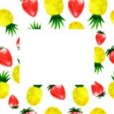 Watercolor ananas and strawberry frame. Hand drawn watercolor ananas and strawberry frame on white background stock illustration
