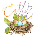 Hand drawn watercolor art bird nest with word-Easter.  illustration on white background. Stock Photos