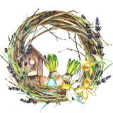 Hand drawn watercolor art Wreath with Spring flowers and eggs. Isolated illustration on white background. stock illustration