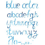 Hand drawn watercolor artistic font, alphabet with punctuation marks.  Stock Image