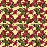 Maple leaves watercolor seamless pattern Stock Images
