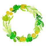 Hand drawn watercolor autumn wreath with abstract cones, leaves and berries isolated on a white background Stock Image