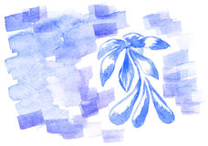 Hand drawn watercolor background with flower Stock Photography