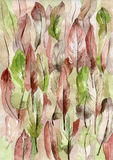 Hand drawn watercolor background with pink and green feathers. W. Atercolor texture for a card royalty free illustration