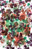 Hand drawn watercolor background with violet, red and green abst. Ract flowers stock illustration