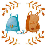 Hand drawn watercolor backpacks stock illustration