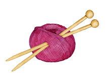 Hand Drawn Watercolor Ball Of Yarn For Knitting With Spokes For Knitting