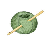 Hand drawn watercolor ball of yarn for knitting with a crochet hook Royalty Free Stock Images