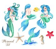 Hand-drawn watercolor beautiful set of mermaids illustration. Underwater collection of fairy tale characters. Isolated sea drawings royalty free stock photography