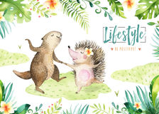 Hand drawn watercolor beaver and hedgehog dancing animals. Boho illustrations, jungle tree, brazil trendy art. Perfect. For fabric design. Aloha collection royalty free illustration