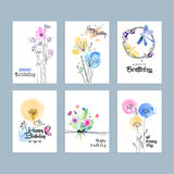 Hand drawn watercolor birthday greeting cards Stock Photography