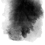 Hand drawn watercolor black stain with water color paint blotch Royalty Free Stock Photography