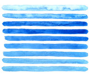 Hand drawn watercolor blue brush strokes. Vector. Royalty Free Stock Photos