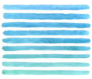 Hand drawn watercolor blue brush strokes. Vector. Hand drawn watercolor blue strokes isolated on the white background. Vector Royalty Free Stock Photos