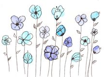Hand drawn watercolor blue flowers royalty free illustration