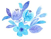 Hand drawn watercolor blue flowers and leaves vector illustration