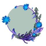 Hand drawn watercolor blue flowers and leaves wreath of calenula officinalis and lavender and dark green circle stock illustration