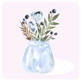 Hand drawn watercolor bouquet in the bank. Blue Royalty Free Stock Photography