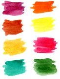 Hand drawn watercolor brush stains set royalty free stock images