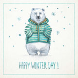 Hand-drawn watercolor card with funny polar bear Stock Photography