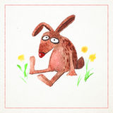 Hand-drawn watercolor card with funny rabbit Royalty Free Stock Photos