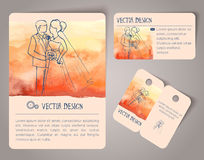 Hand drawn watercolor cards Royalty Free Stock Image