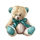 Hand drawn watercolor children`s toy teddy bear
